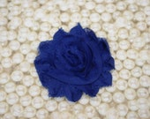 Chiffon Flower Hair Clip Royal Blue Frayed Shabby Chic Rosette Fabric Flower Clippie