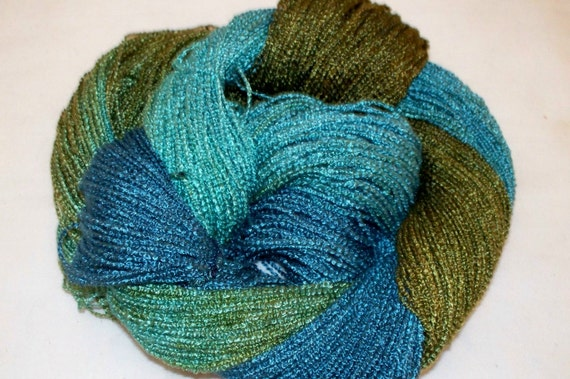 Boucle Yarn : Handpainted Yarn Rayon Boucle Yarn LILY by YarntopiaTreasures