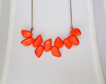 Lava Turquoise Bib Necklace - Genuine Red-Orange Turquoise Statement Necklace In Antiqued Brass