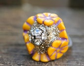 Sale Party Monster Ring vintage lucite sterling silver crystal vintage button No.6