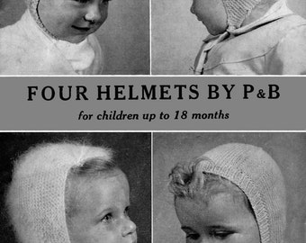 Vintage Childrens Helmets in Four Styles, Knitting Pattern, 1950 (PDF) Pattern, P&B 314