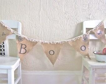 Halloween Burlap Bunting BOO Skull Banner Decorations Lace Primitive Farmhouse Photo Prop