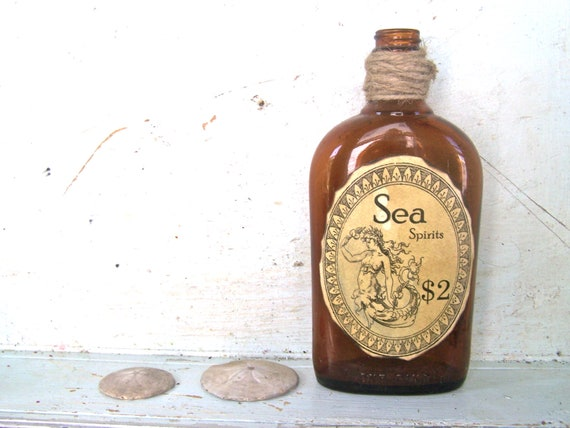 Rustic Beach House Mermaid Nautical Glass Vase Recycled Bottle Home Decor Prop