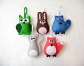Felt Christmas Ornament Set - The Woodland Critters - Owl Bunny Raccoon Squirrel Fox - Made to Order