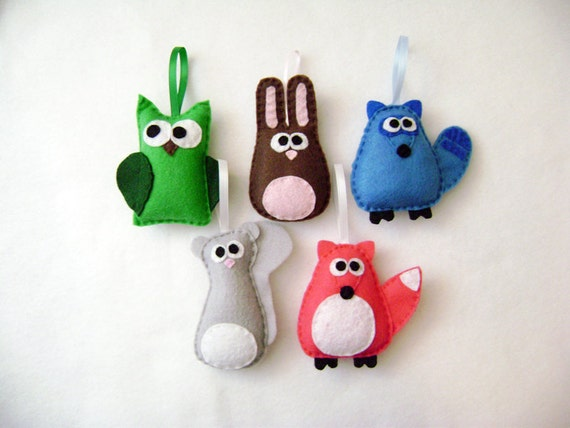 Animal Ornament, Forest Animal, Christmas Ornament Set - The Woodland Critters - Owl Bunny Raccoon Squirrel Fox - Made to Order