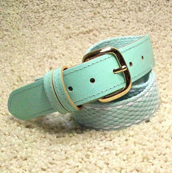 Minty Green Cotton Twill Belt with Leather Vintage Size 10 Small M.A.