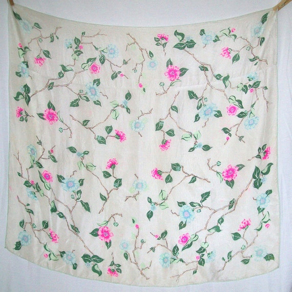 Vintage Antique Gorgeous Flowers and Twigs Cream Background Silk Distressed Scarf 1940s