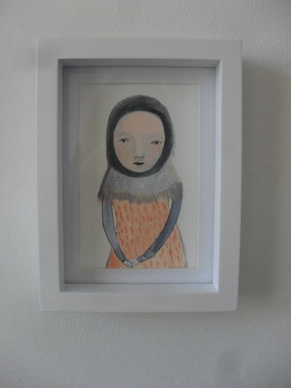 SUMMER SALE -The Thinker -  Original Acrylic painting on paper  - Folk art
