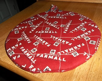 Farmall Potholder, Potholders, Hot Pad, Hot Pads, Quilted, Handmade, Round, Trivet, Cotton Fabric, Insulated, 9 Inches