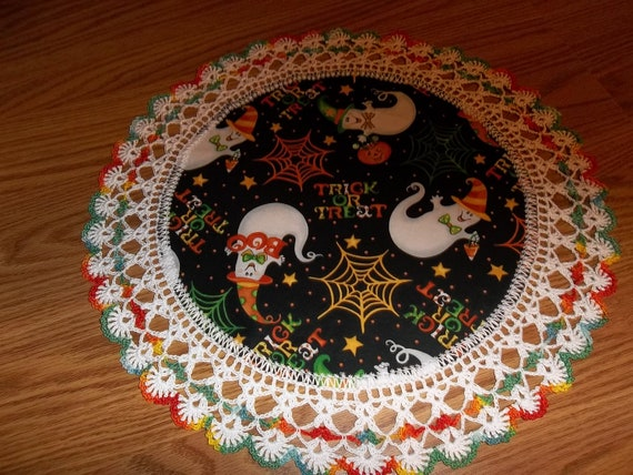 Crocheted Halloween Doily Trick or Treat with Ghosts Fabric Center with Crocheted Edging Medium 18 inches