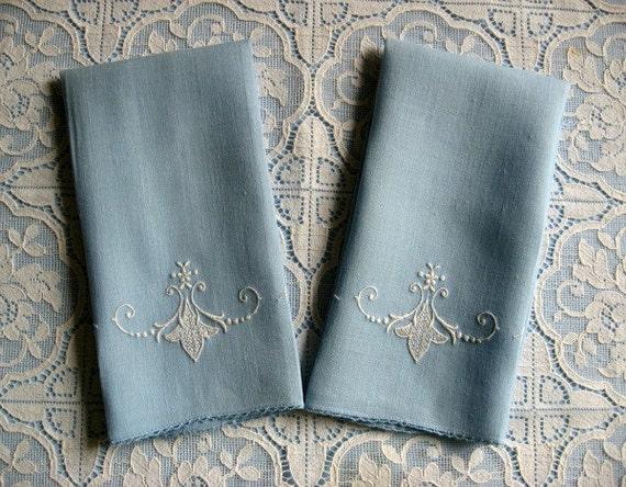 Fingertip Towels -- Blue -- Vintage -- Hand-Embroidered --  Guest Towels