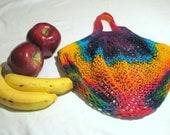 Rainbow Tie Dye Cotton Mesh Farmer's Market Bag