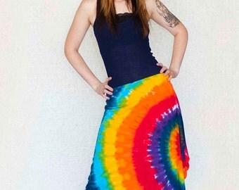 Tie Dye Cotton Skirt in Rainbow Swirl