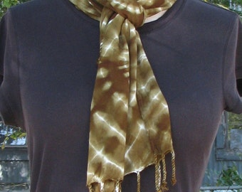 Tie Dye Moss Green Shibori Rayon Scarf with Twisted Fringe