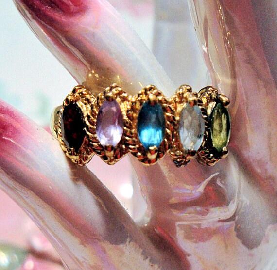 Vintage 18k Gold Vermeil Ring, Garnet, Peridot, Amethys,t Topaz, Aquamarine, Marquise Stones, VTG Technibond Ring