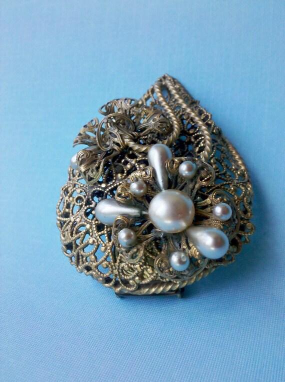 Vintage Brass Filigree and Pearl Fur Clip Brooch