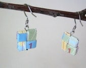 Pretty Pastel Map Earrings - Lilac, Yellow, Blue, Green, Red and Eco Friendly