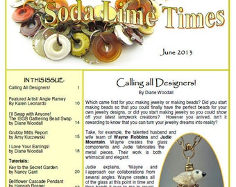 June 2013 Soda Lime Times Lampworking Magazine - Jewelry issue - (PDF) - by Diane Woodall