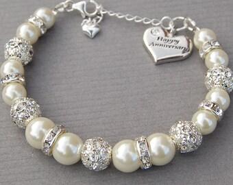 Happy Anniversary Charm Bracelet, Anniversary Gift, Ivory Pearl Rhinestone Bracelet, Sparkling Bling Jewelry, Gift for Her