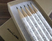 winter pencils wrapped in chiyogami - set of 5 - limited edition - let it snow