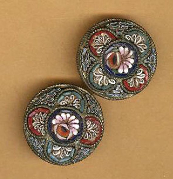vintage italian micromosaic parts findings for repurpose and reuse, two pieces antique