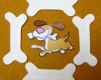 DOG BONES, bones, appliques, wool blend felt, precision die cut, 3 inches (7.5 cm) long, TWENTY