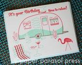 Happy Birthday Retro Vintage Camper Birthday Card
