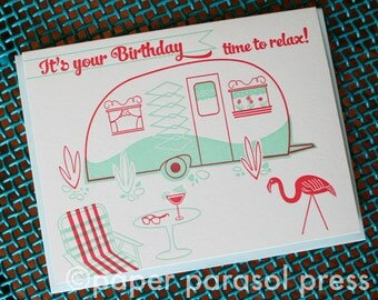Happy Birthday Retro Vintage Camper Birthday Card
