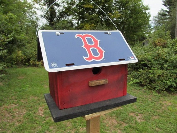 Play Ball Boston Red Sox Primitive License Plate Birdhouse Blue Red Baseball