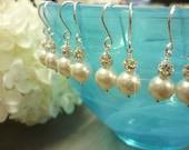 Ivory Wedding Earrings, Pearl Bridal Earrings, Pearl and Rhinestone