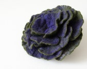 Purple on Green Felted Flower Brooch - Hand Felted Wool Pin
