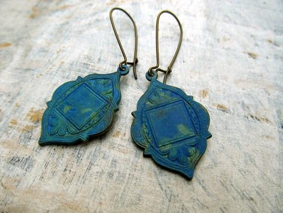 Ethnic earrings Blue Verdigris Patina Ethnic Jewelry