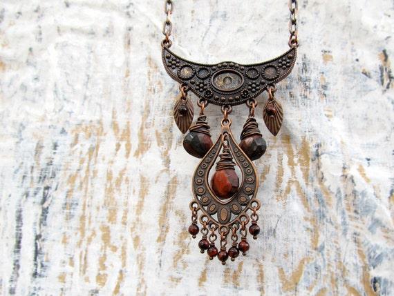 Gypsy Bohemian necklace red Tigereye Statement necklace Copper bib necklace Bohemian Jewelry