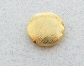 10mm Brushed Bali Vermeil 24 Karat Gold Over Sterling Silver Flat Coin Disc Bead (2 pieces)