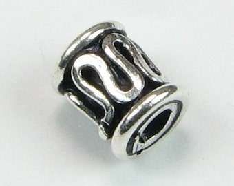 Bali Sterling Silver Tube Beads with Swirly Lines (2)