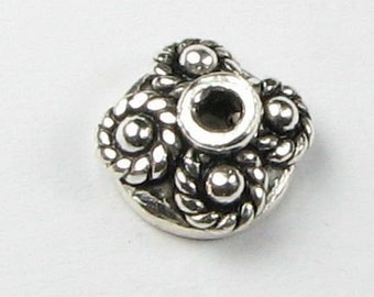 Dots and Rope Bali 925 Sterling Silver Bead Caps 7mm (2 beads)