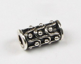 Bali Sterling Silver Tube Beads with Dots and Wave Design (2 beads)
