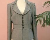 Tweed Blazer, Belted Blazer, Black and White, Checkered Blazer, Dressy, Work Attire, Woman's Blazer Size 10