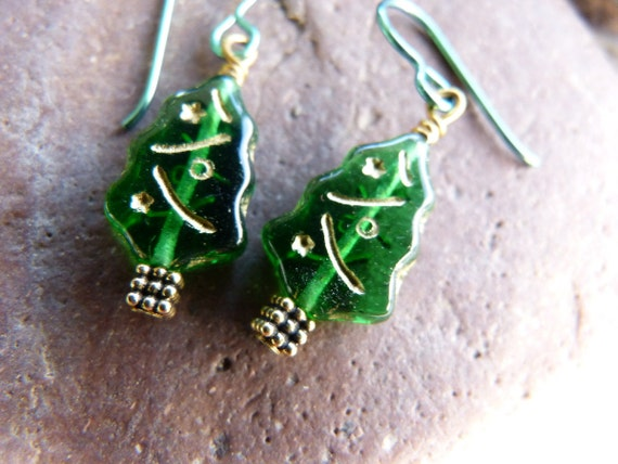 Glass Christmas Tree Earrings