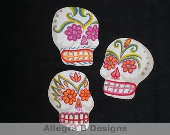 Sugar Skull Mexican Art Day of the Dead Iron on Patches No Sew DIY