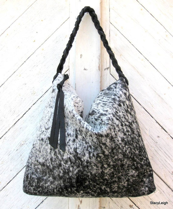 Black and White Speckled Cowhide Leather Hobo Bag by Stacy Leigh RESERVED for Barbara