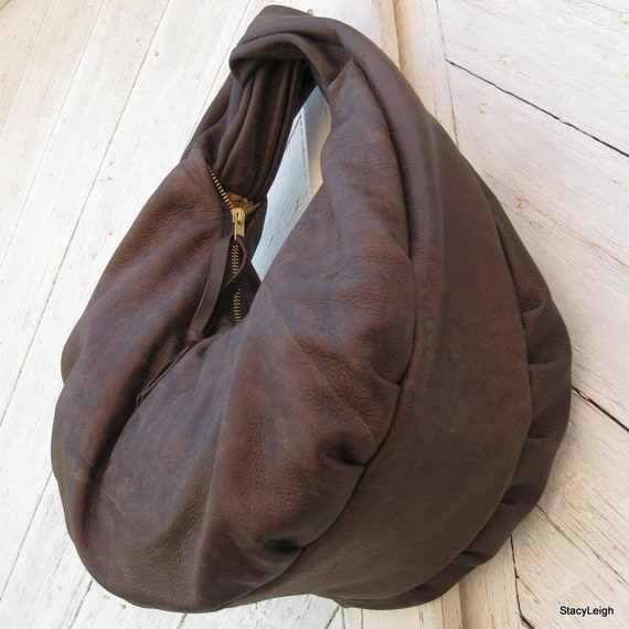 Distressed Brown Soft Slouchy Hobo Bag by Stacy Leigh Ready to Ship