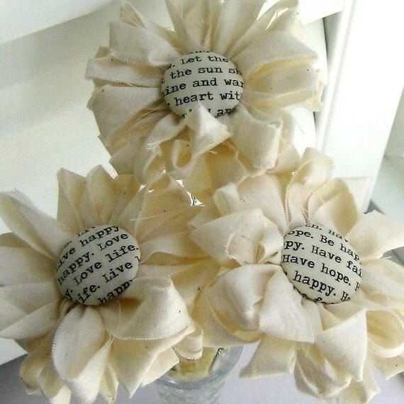 Fabric Bouquet, Fabric  Flowers, Button Flowers, Flower Arrangement,  Bouquet, Home Decor, Flower Stem Centerpiece - No. 71