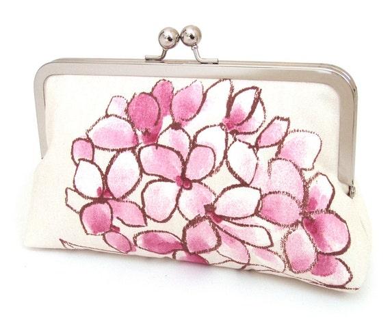 Pink hydrangea clutch : Romantic purse for wedding / bridal / party