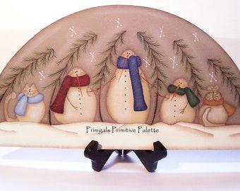 Door Crown Shelf Sitter Wood Topper Primitive Snowmen Winter Home Decor Hand Painted