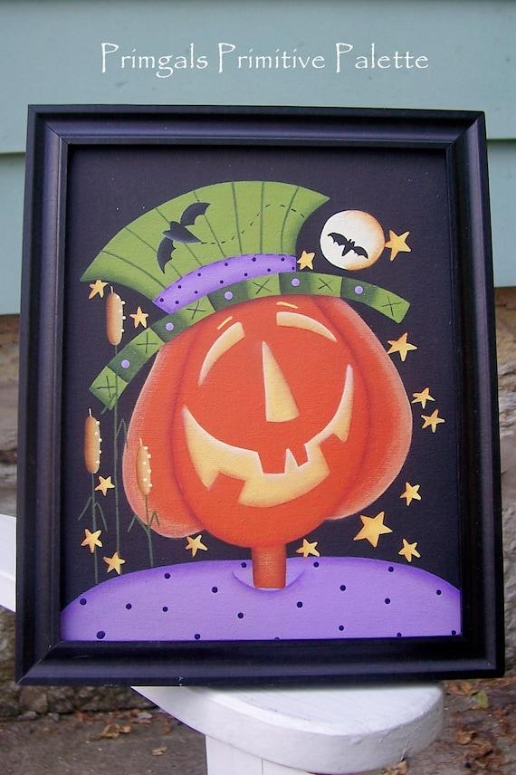 Halloween Primitive Pumpkin Bats Framed Canvas Handpainted Home Decor