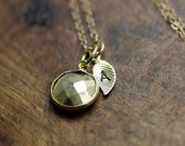 Custom Lucky Pyrite and Gold Leaf Initial Necklace