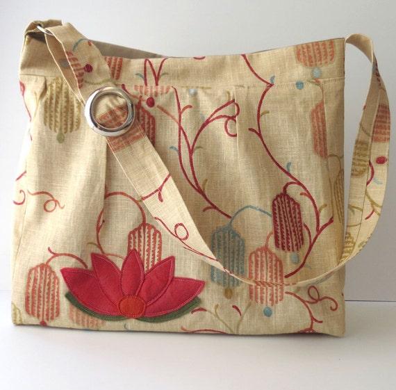 Linen Lotus Handbag