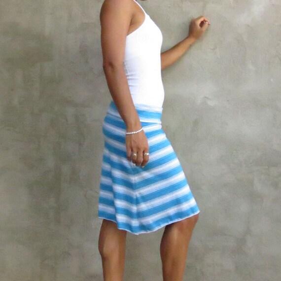 Simple Skirt in Blue Stripes- M/L