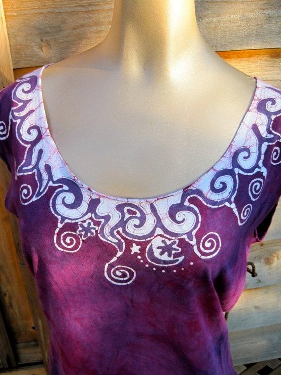 Fuchsia Berry Necklace Batik Top - Summer Sale - size L only